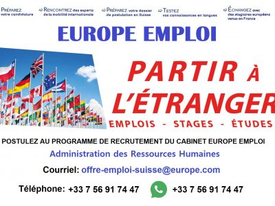 Offre Emploi Europe Suisse , Luxembourg , Belgique
